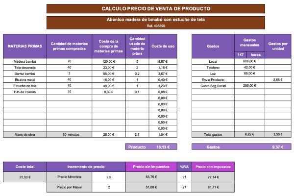 Plantilla Excel para calcular el precio de venta de un producto PVP