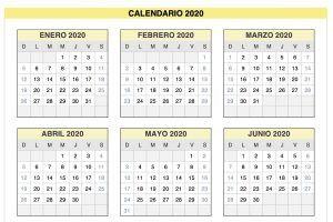 Plantilla Excel Calendario 2020 de Domingo a Sábado
