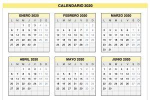 Plantilla Excel Calendario 2020 de Lunes a Domingo