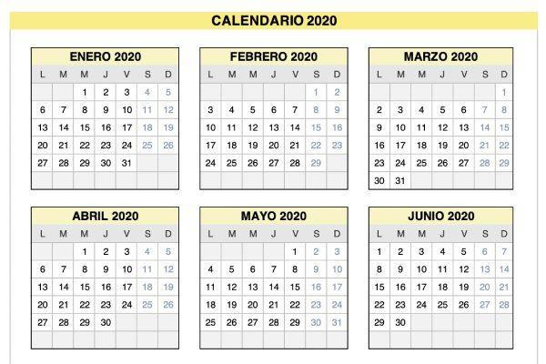 Calendario 2020 de Lunes a Domingo