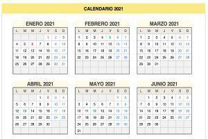 Calendario 2021 de lunes a domingo