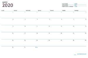 Plantilla Excel calendario mensual 2020