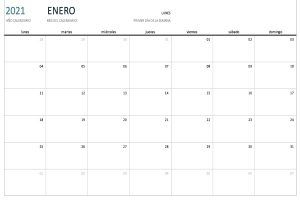 Calendario mensual perpetuo en blanco