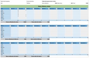Plantilla Excel para el control de horas trabajadas