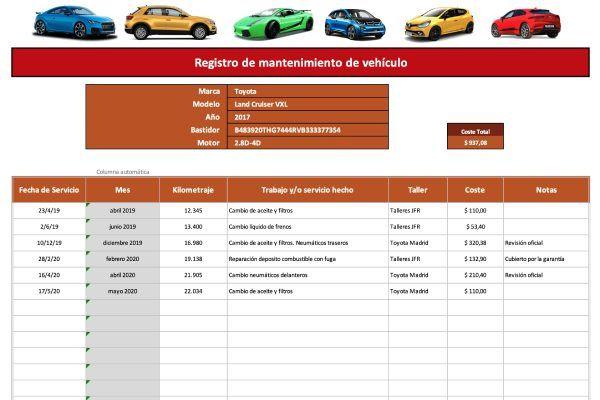 Plantilla Excel mantenimiento de vehículo