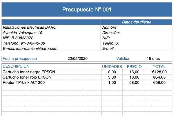 Plantilla Excel Presupuesto de Empresa