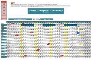 Plantilla Excel turnos rotativos de trabajo