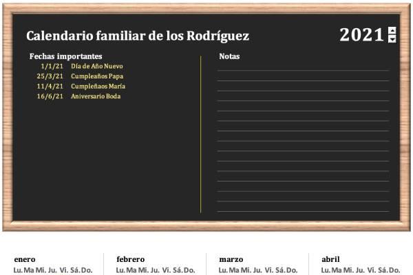 calendario familiar en formato excel para descargar e imprimir