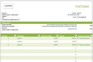 factura en excel con descuento por artículos verde