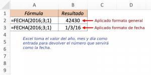 formula FECHA de excel ejemplo 1