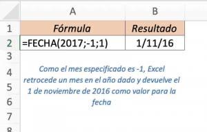 formula FECHA de excel ejemplo 2